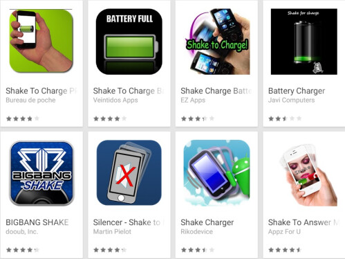 Shake to charge apps