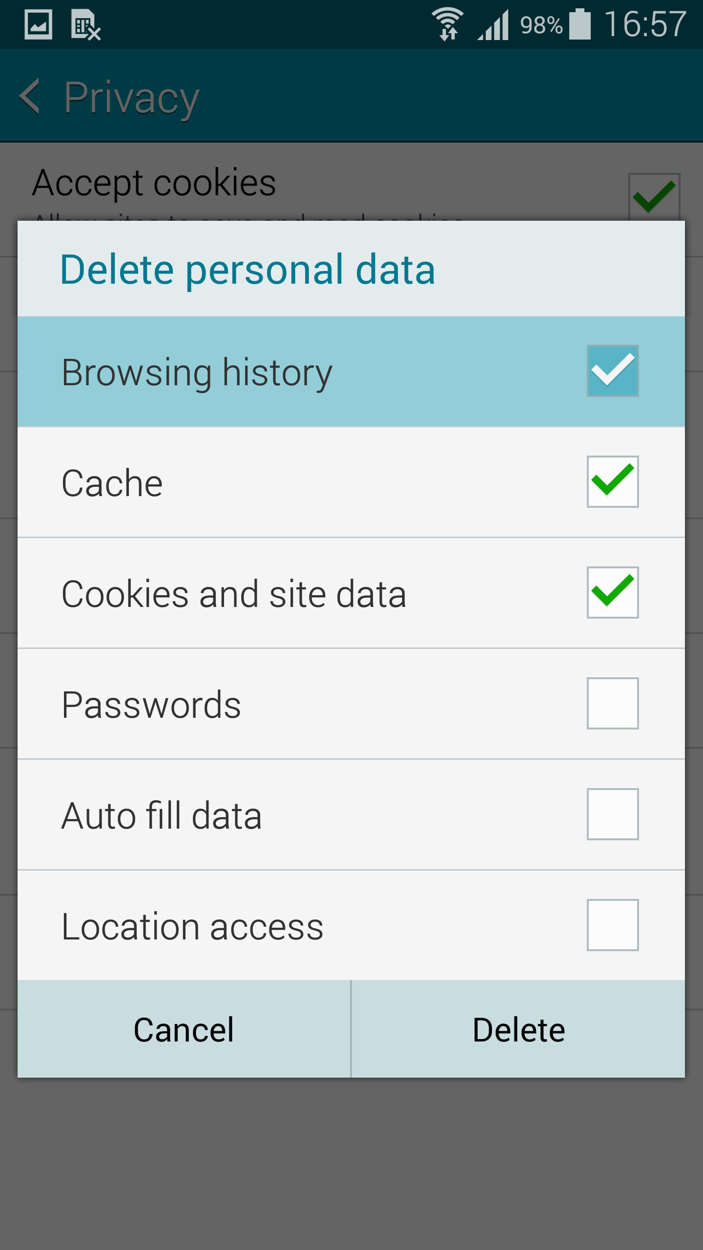 Make Sure Browser History Is Among The Things How To Delete An App On