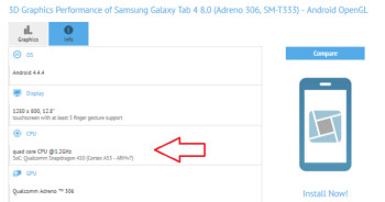 Samsung Galaxy Tab 4 8.0 is being refreshed with the 64-bit Snapdragon 410