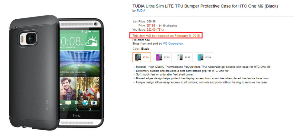 Did Amazon reveal the design of the HTC One (M9) by listing this case? - HTC One (M9) case listed on Amazon might have leaked the real design of the phone