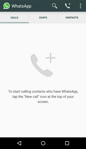 Screenshots showing the new WhatsApp UI with voice call feature