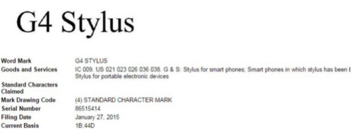 LG files to patent G4 Stylus name