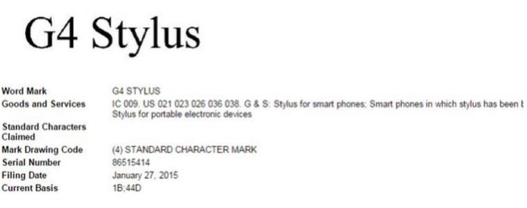 LG files to patent G4 Stylus name