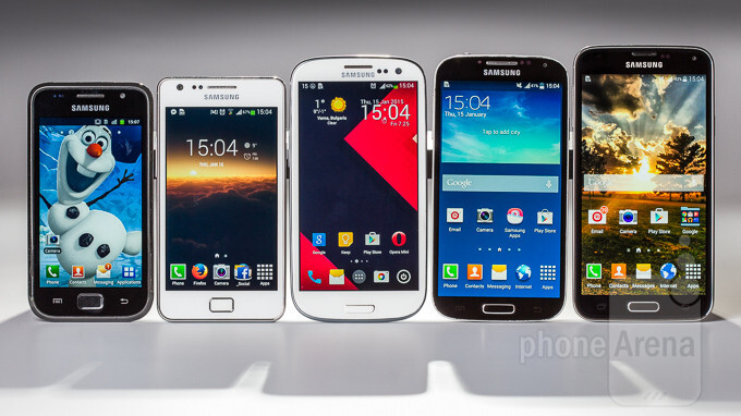 The Samsung Galaxy S family. From left to right – Galaxy S, Galaxy SII, Galaxy SIII, Galaxy S4, and Galaxy S5. - The evolution of Samsung's TouchWiz UI: From the Galaxy S to the Galaxy S5 (visual comparison)