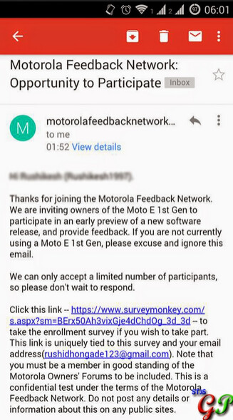 Owners of the first generation Motorola Moto E in India are being invited to participate in a soak test