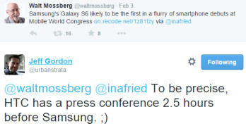 HTC One (M9) will be announced two hours before Samsung Galaxy S6 and S Edge