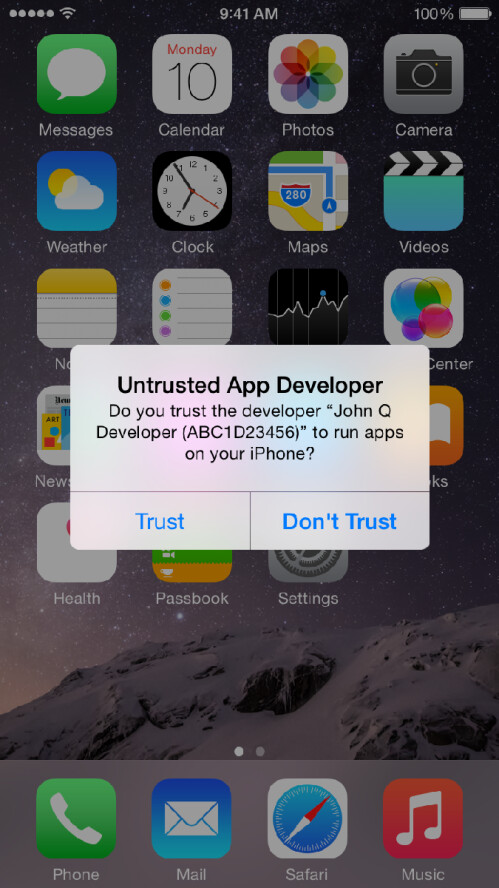 iOS warning messages