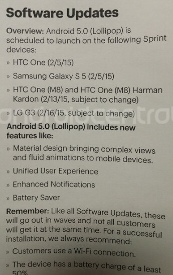 Leaked document reveals when Android 5.0 update will hit Sprint's HTC One (M8) and LG G3 - Leaked document shows when Sprint's HTC One (M8) and LG G3 will each get Android 5.0 update