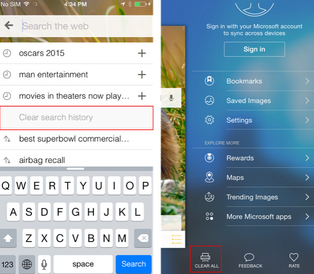 Update to Bing Search for iOS brings a new button to clear search history (L) and a shredder button to clear everything - Bing Search for iOS receives update to version 5.4