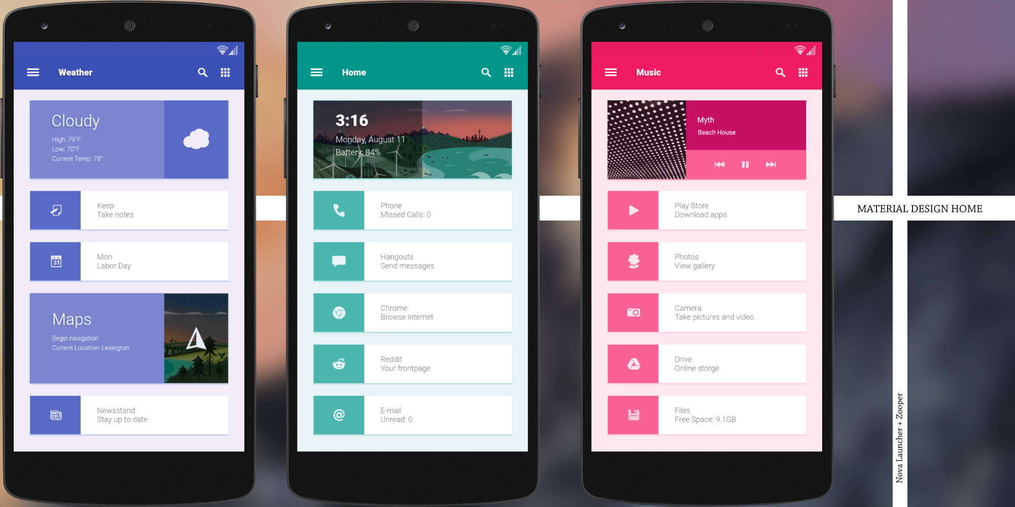 10 creative custom android homescreen themes made by for App design online