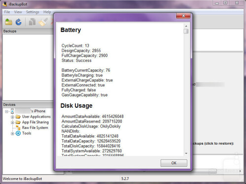 iBackupBot gives you detailed information about the health of your battery