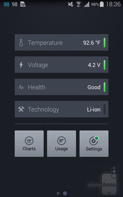 The Battery app displays health info as well