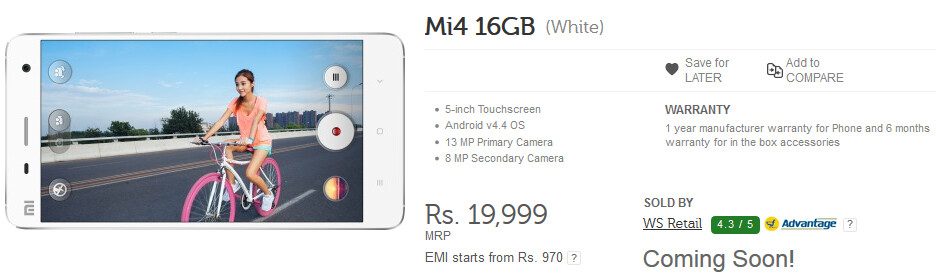 The 16GB Xiaomi Mi 4 is going up for sale in India for the first time - 16GB Xiaomi Mi 4 to be sold in India today via flash sale; 64GB model coming February 24th