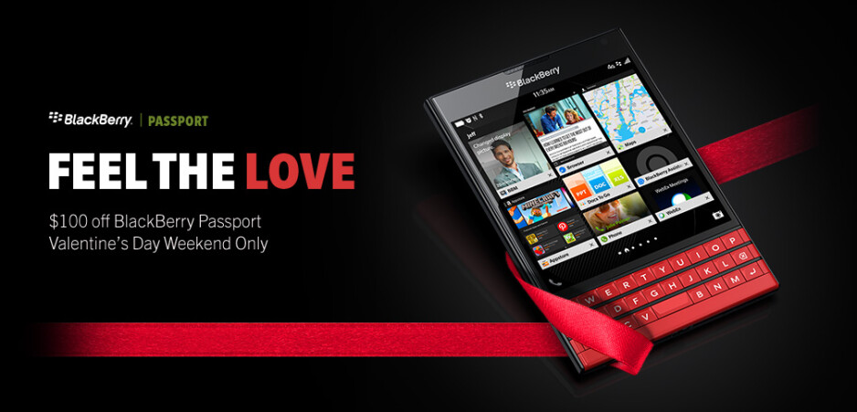 BlackBerry Passport (including the red version) is $100 cheaper throughout Valentine's Day weekend