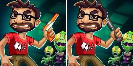 Team Chaos had to submit a new icon for Rooster Teeth vs. Zombiens because of the NES zapper gun seen on the original image at left - Apps getting rejected by Apple if their screenshots show violence or a weapon