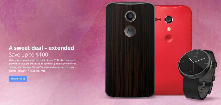 Motorola extends the discounts on its website to February 17th - Motorola extends its website discounts to February 17th