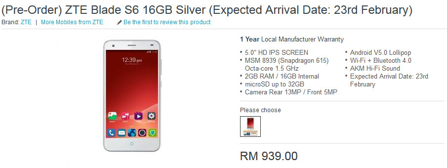 ZTE Blade S6 can be pre-ordered in Malaysia - Pre-orders starting in Malayasia for ZTE Blade S6