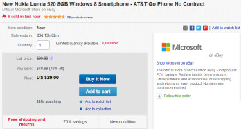 Buy the Nokia Lumia 520 for just $29 on eBay