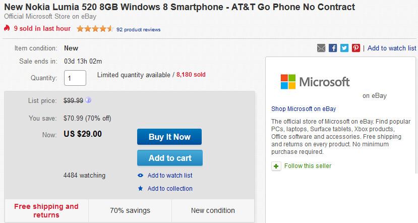 Buy the Nokia Lumia 520 for just $29 on eBay - Microsoft selling Nokia Lumia 520 on eBay for $29