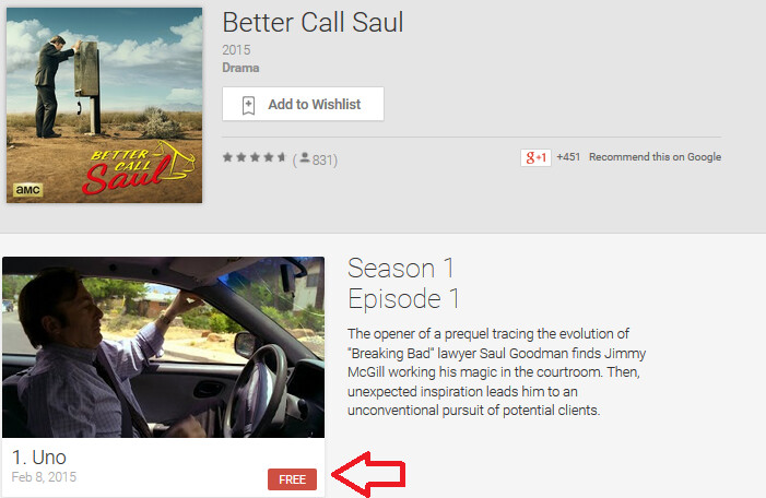 The first episode of Better Call Saul can be viewed for free from the Google Play Store - Didn't catch the Better Call Saul premiere? Watch it for free from the Google Play Store