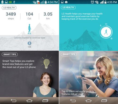 LG Health & Smart Tips (Left - KitKat, Right - Lollipop)