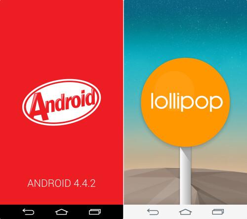 Software version easter egg (Left - KitKat, Right - Lollipop)