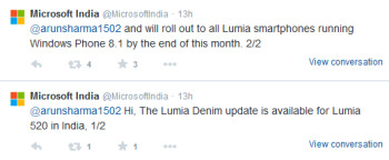 Microsoft India tweets out information about the Lumia Denim update