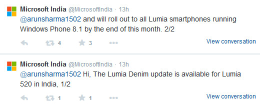 Microsoft India tweets out information about the Lumia Denim update - Microsoft India says that all Lumias (in India?) will have Lumia Denim by the end of this month