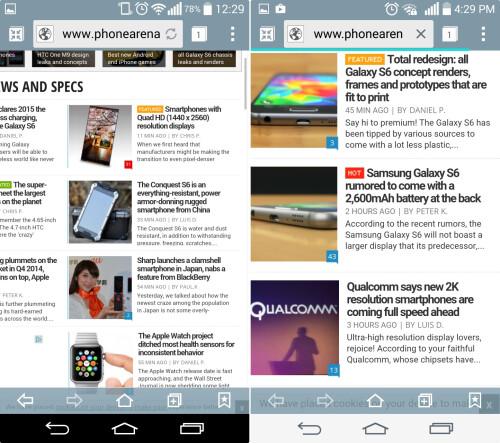 Browser (Left - KitKat, Right - Lollipop)