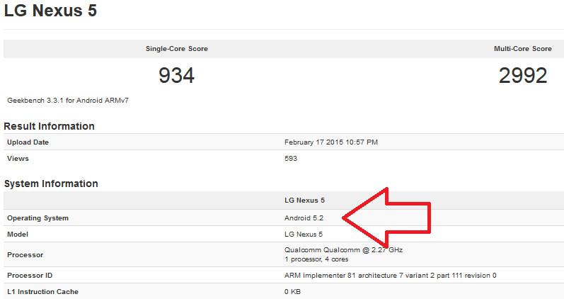 Android 5.2 powering the Nexus 5