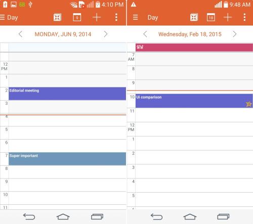 Calendar (Left - KitKat, Right - Lollipop)