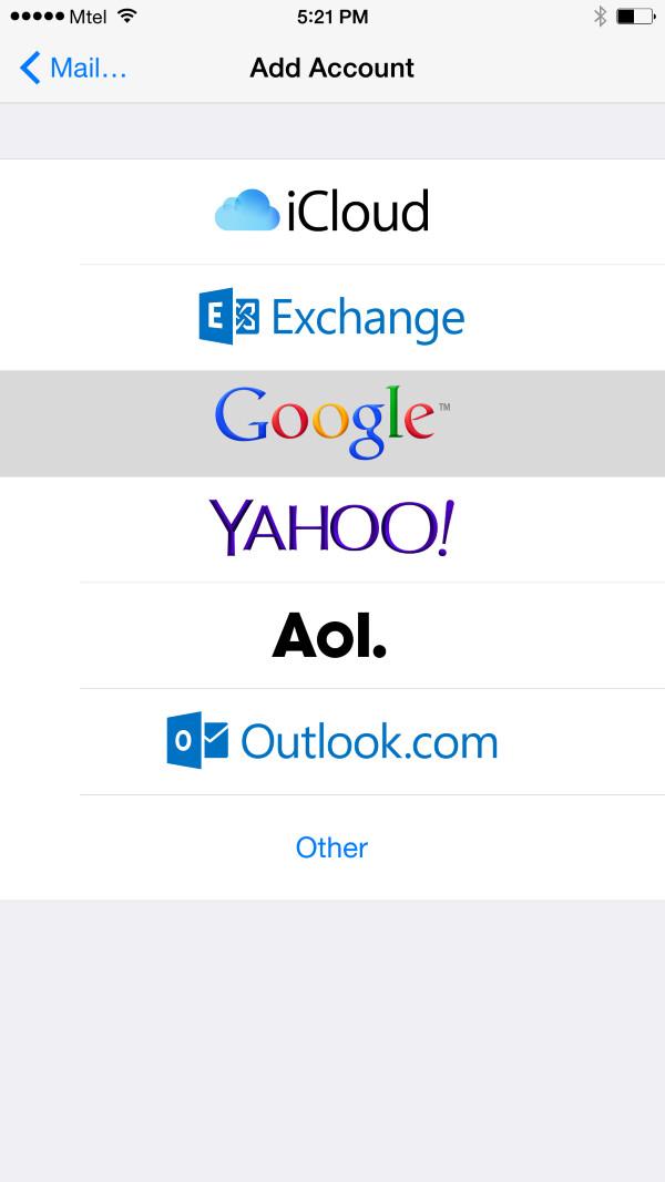 Select the Google tab