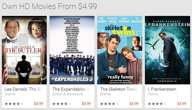 Buy some HD movies to own for $5 and less from the Google Play Store - Google Play Store offering some movie titles at a discounted price of $5 or less