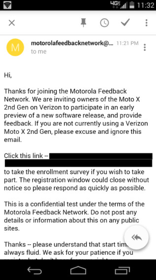 Soak Test invites go out to those with the Verizon branded second generation Motorola Moto X - Second generation Motorola Moto X Soak Test invitations go out to Verizon customers (UPDATE: AT&T, too)