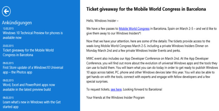 Microsoft will pay for some lucky Windows Insider program subscribers to attend MWC - Microsoft to give away MWC passes to certain Windows Insider program subscribers