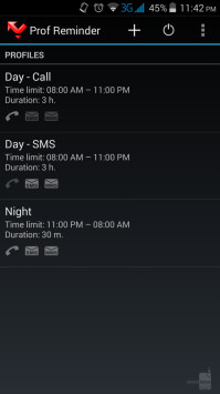 The Missed Call Reminder home screen and profiles list