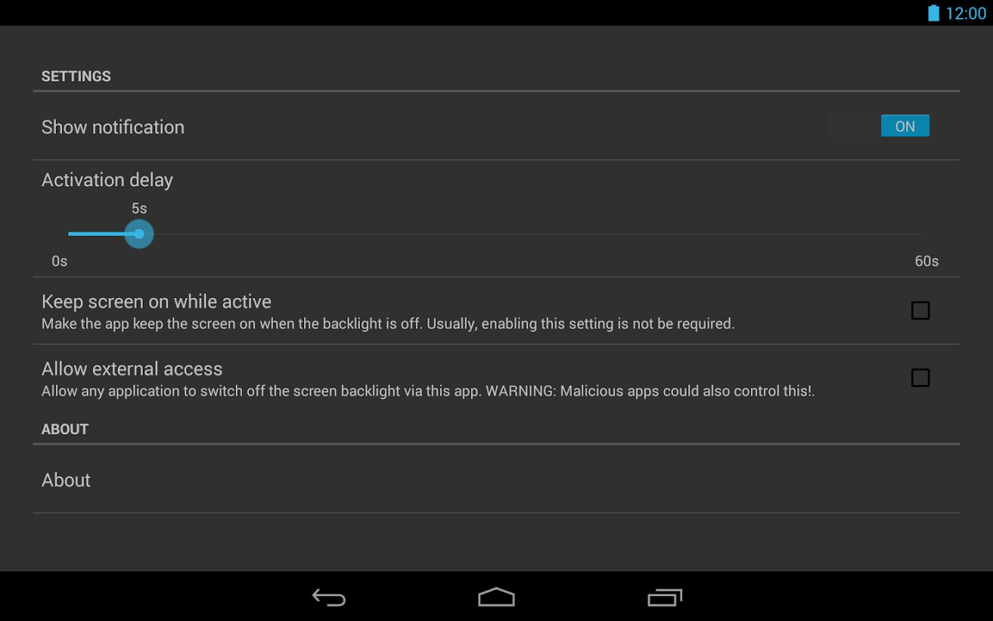 This Android app turns off the display's backlight without ...