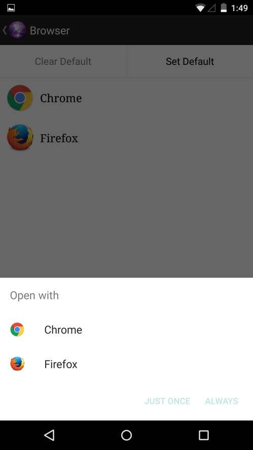 How to change default apps (browser, mail, camera, etc) on Android