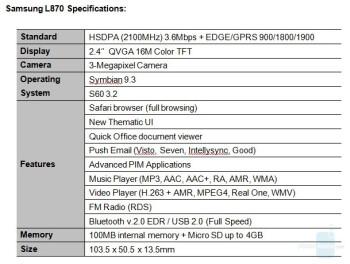 Samsung's specs mentioning Safari