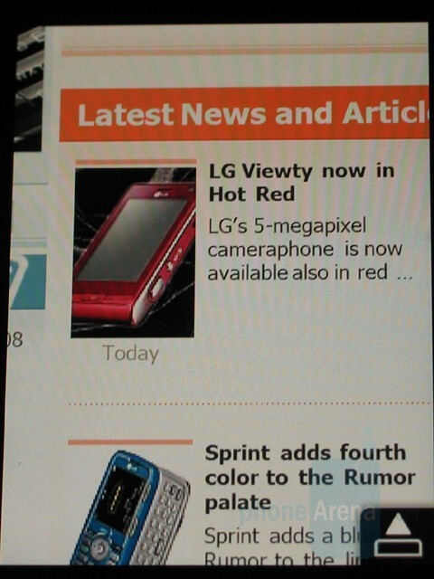 Zoomed in - PhoneArena on the Opera browser - Hands-on with the HTC Touch Diamond