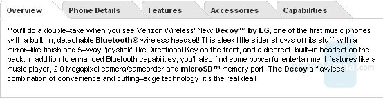 LG Decoy on Verizon's Testman site