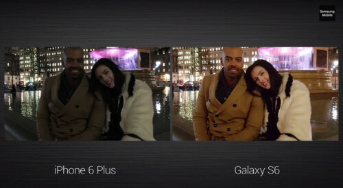 Samsung compares the Galaxy S6 camera to the iPhone 6 camera.