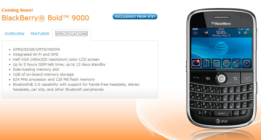 AT&T claims BlackBerry Bold is its exclusively