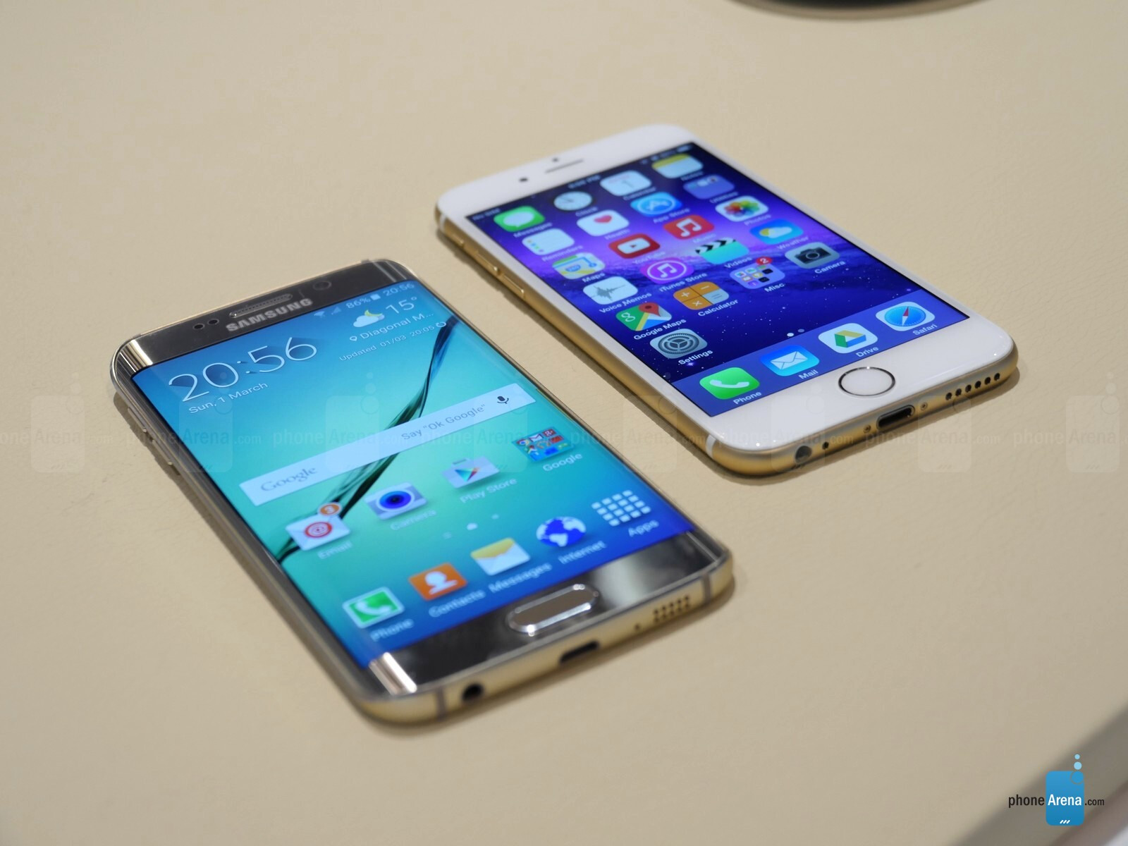 samsung galaxy s6 edge next to iphone 5