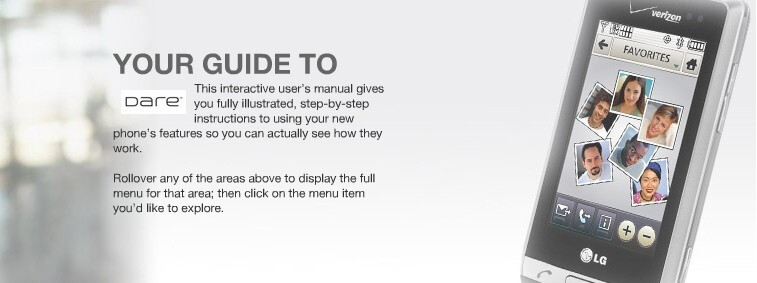 Interactive User Guide for the LG Dare now posted on Verizon's site