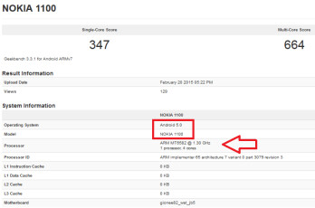 Geekbench test on the Nokia 1100 not due until Q4 2016