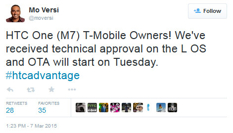 HTC's Mo Versi tweets the good news to T-Mobile customers with the HTC One (M7) - T-Mobile HTC One (M7) to get Android 5.0 update on March 10th