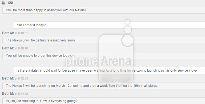 Nexus 6 to launch March 12th for Verizon's online customers, a week later in the stores - Verizon rep confirms March 12th launch online for Nexus 6, in stores March 19th