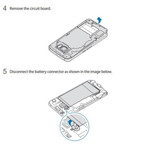 Galaxy S6 battery replacement process - Samsung manual