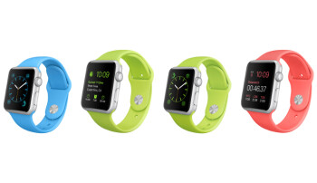 The Apple Watch Sport straps are all made of ...